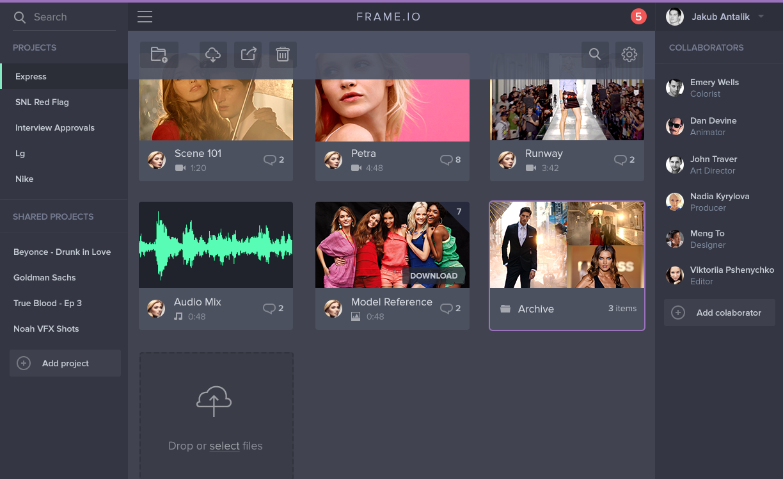 Frame.IO iOS award winner app app